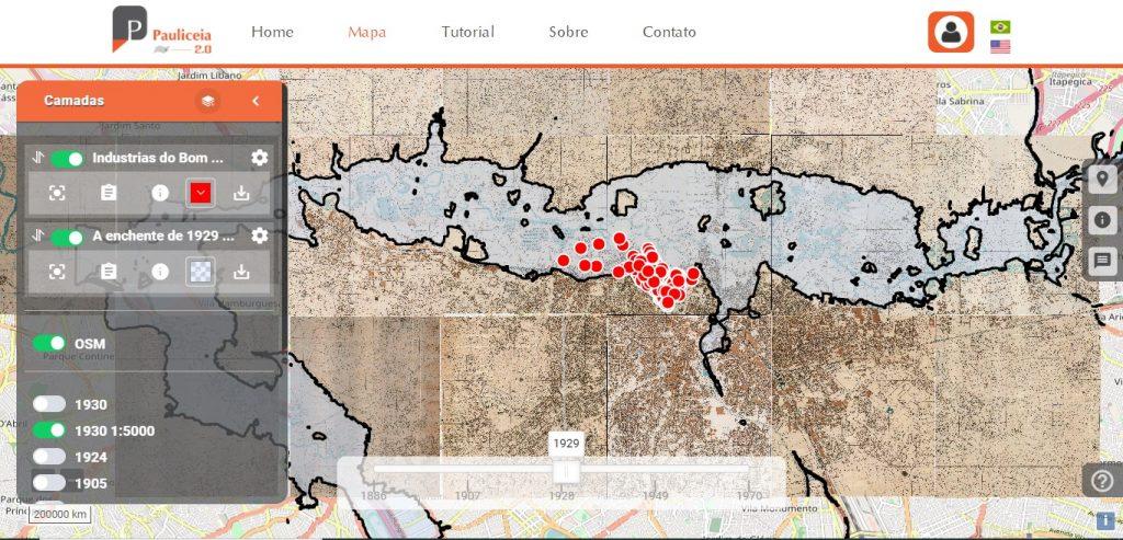 Mapa produzido através da plataforma, cruzando dados sobre indústrias do Bom Retiro e a enchente de 1929 (Imagem: Reprodução)